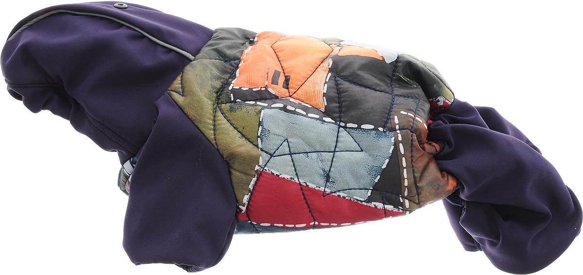 Комбинезон для собак GLG Столица. Куртка-джинсы, цвет: фиолетовый, зеленый, оранжевый, унисекс. Размер S дождевик прогулочный для собак glg цветок цвет темно синий размер l