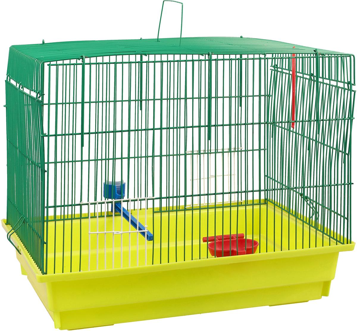 Клетка для птиц ЗооМарк, большая, цвет: желтый поддон, зеленая решетка. 470 цена