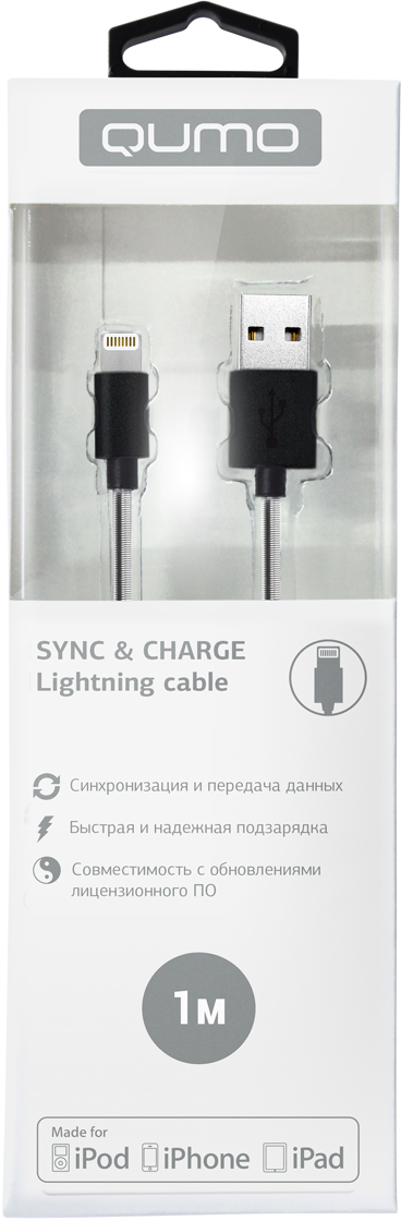 Qumo Lightning-USB MFI, Black кабель (1 м)