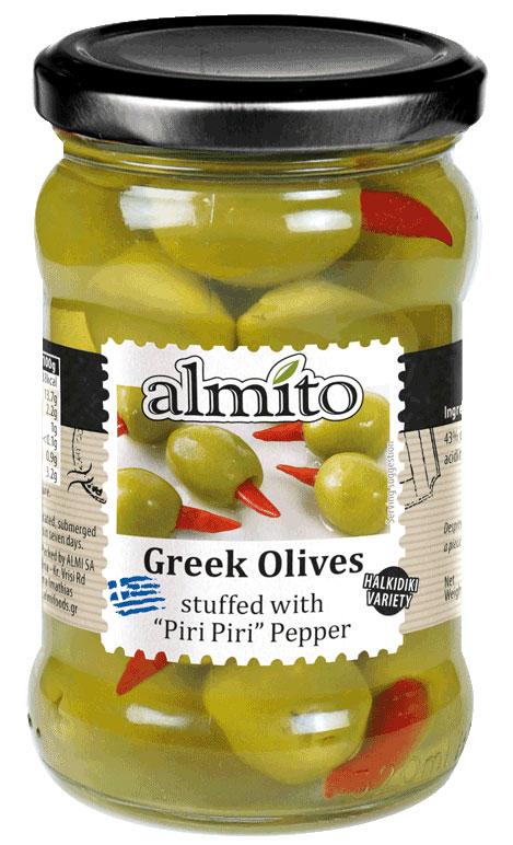 Almito Греческие оливки фаршированные красным перчиком, 320 мл