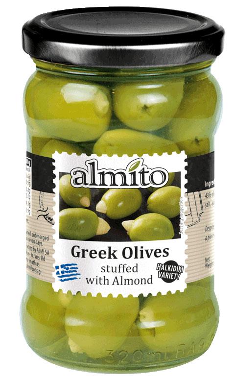 Almito Греческие оливки фаршированные отборным миндалем, 320 мл греческие авиалинии