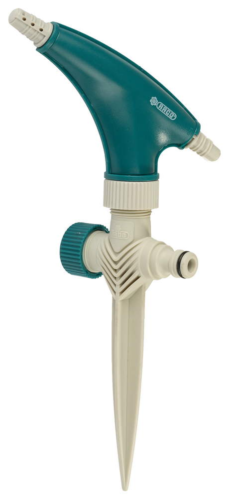 Распылитель на шланг Raco, круговой. 4260-55/659C4260-55/659CРаспылитель круговой RACO применяется для стационарного полива растений при подключении к водопроводному шлангу с помощью соединителя. Два соединительных гнезда позволяют создать цепочку из поливочных распылителей. Специально рассчитанный угол наклона головки позволяет наиболее эффективно осуществлять поливочные работы. Пластиковая пика надежно фиксирует распылитель в почве.