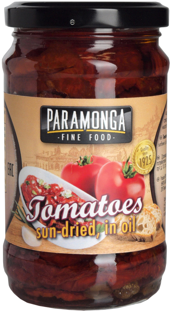 Paramonga Вяленые томаты в подсолнечном масле, 295 г mancin анчоусы филе в подсолнечном масле 78 г