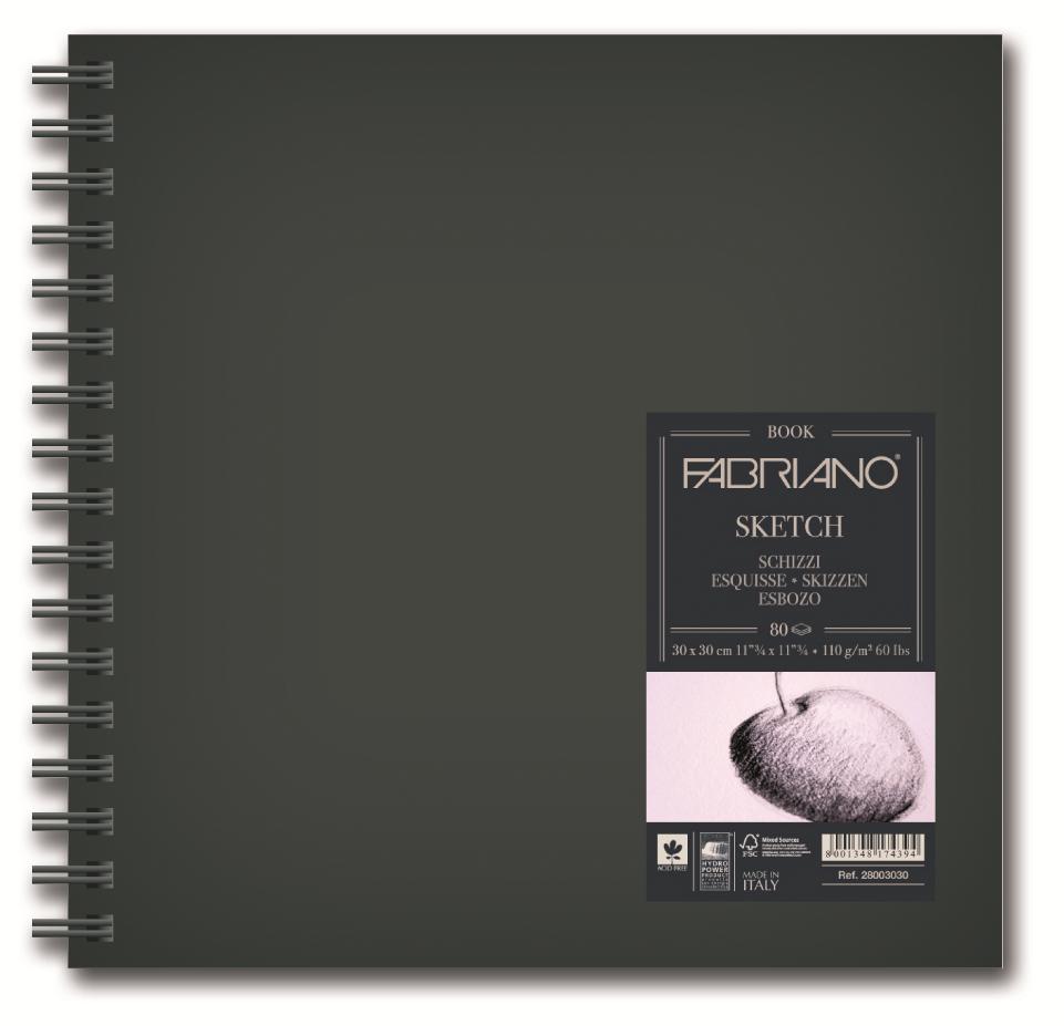 Fabriano Блокнот для зарисовок Sketchbook 80 листов 30 x 30 см28003030Блокноты для зарисовок Sketchbook подходят для работ углем, пастелью, карандашами или тушью.Блокноты Sketchbook изготавливаются из высококачественной целлюлозы и без кислот. Каждый блокнот имеет твердую обложку, которая предохраняет листы от смятия.