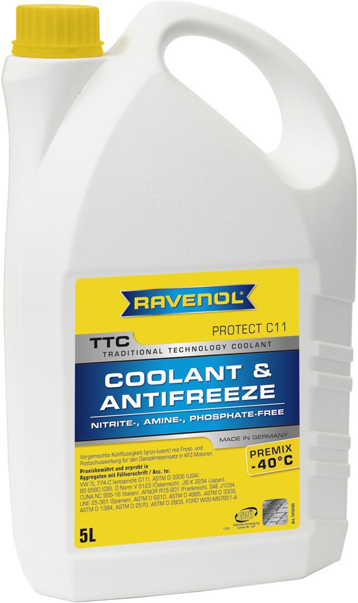 """Антифриз Ravenol """"TTC Traditional Technology Coolant Premix"""", готовый, цвет: желтый, 5 л"""
