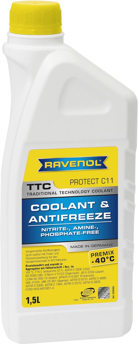 """Антифриз Ravenol """"TTC Traditional Technology Coolant Premix"""", готовый, цвет: желтый, 1,5 л"""