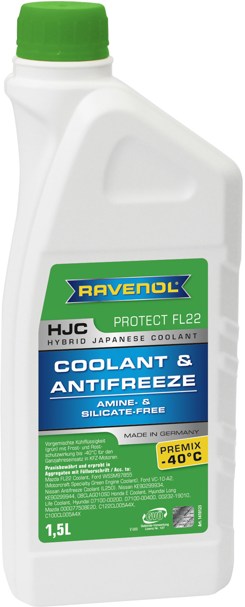 Антифриз Ravenol HJC Hybrid Japanese Coolant Premix -40°C, готовый, цвет: зеленый, 1,5 л антифриз ravenol hjc hybrid japanese coolant premix 40°c готовый цвет зеленый 5 л