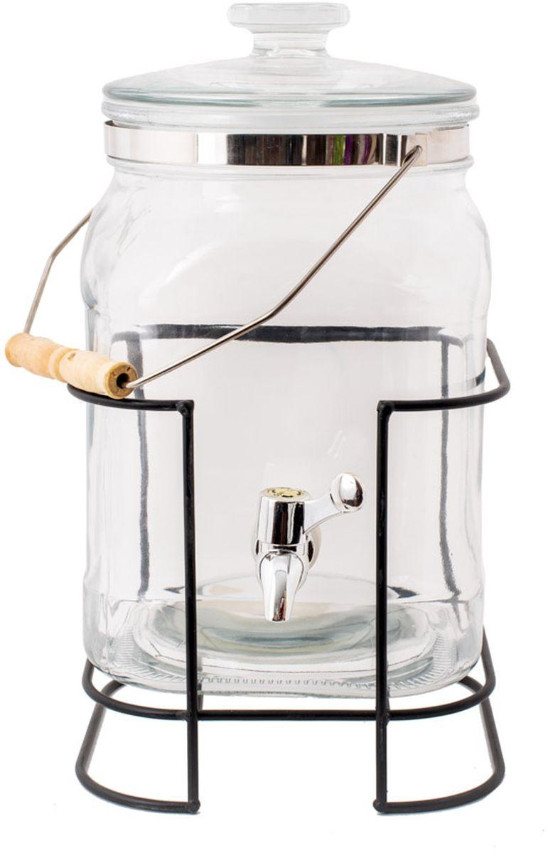 """Емкость для напитков Magic Home """"Лето в бокале"""", с крышкой, цвет: прозрачный, 5,1 л"""