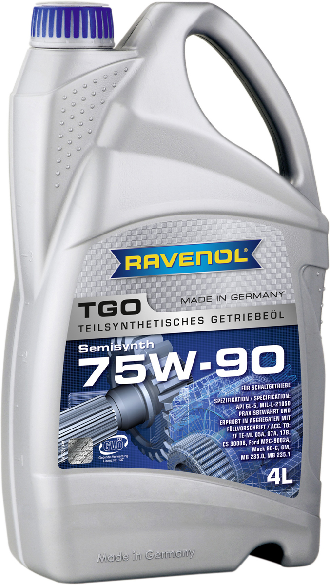Масло трансмиссионное Ravenol TGO, полусинтетическое, 75W-90 GL-5, 4 л