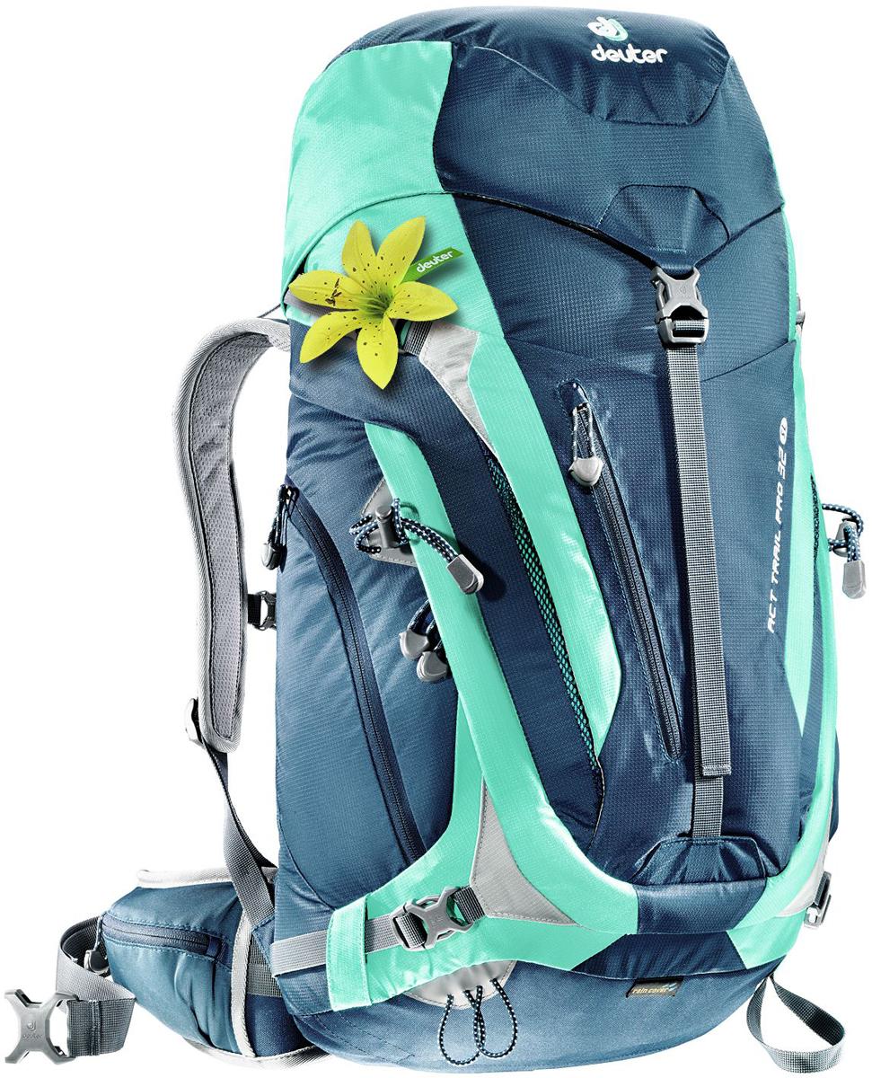 цена на Рюкзак туристический Deuter ACT Trail, цвет: бирюзовый, темно-синий, 32 л
