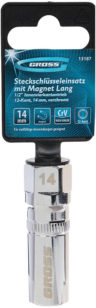 Головка торцевая Gross, свечная, магнитная, 12-гранная, под квадрат 1/2, 14 мм свечная головка магнитная berger 1 2 21 мм bg 21spsm