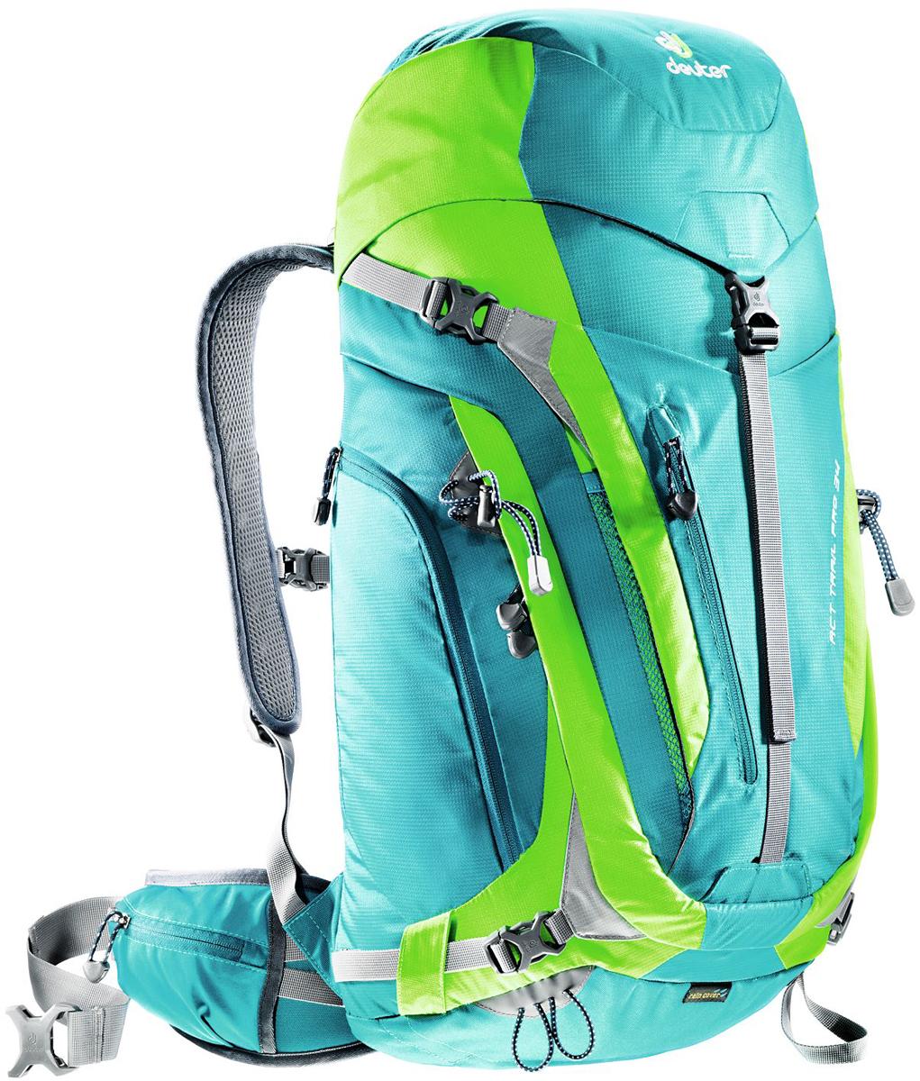 цена на Рюкзак туристический Deuter ACT Trail, цвет: голубой, салатовый, 34 л