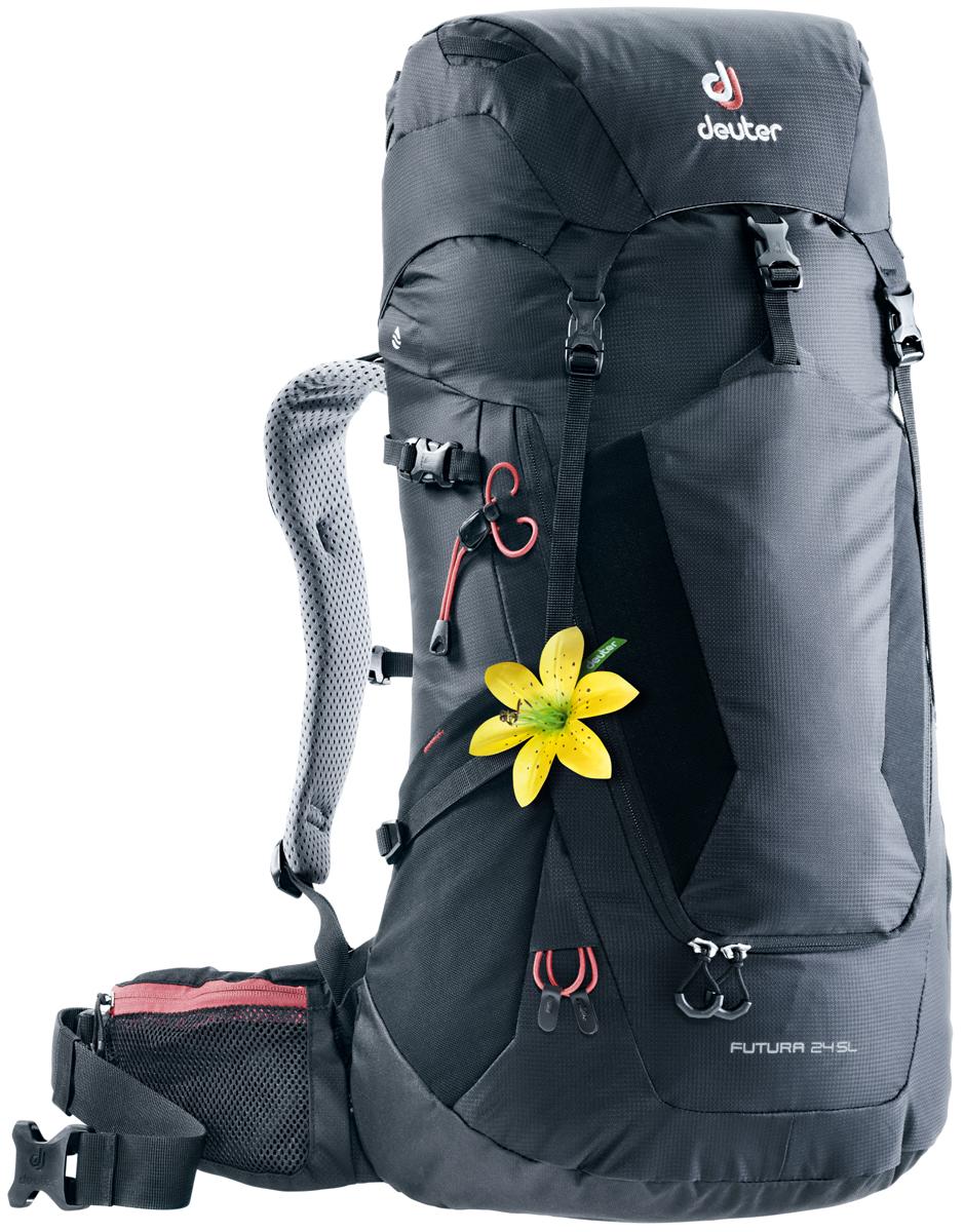 Рюкзак туристический Deuter Futura, цвет: черный, 24 л. 3400218_7000 городской рюкзак deuter futura 20 sl 20 л фиолетовый розовый 34194 3503