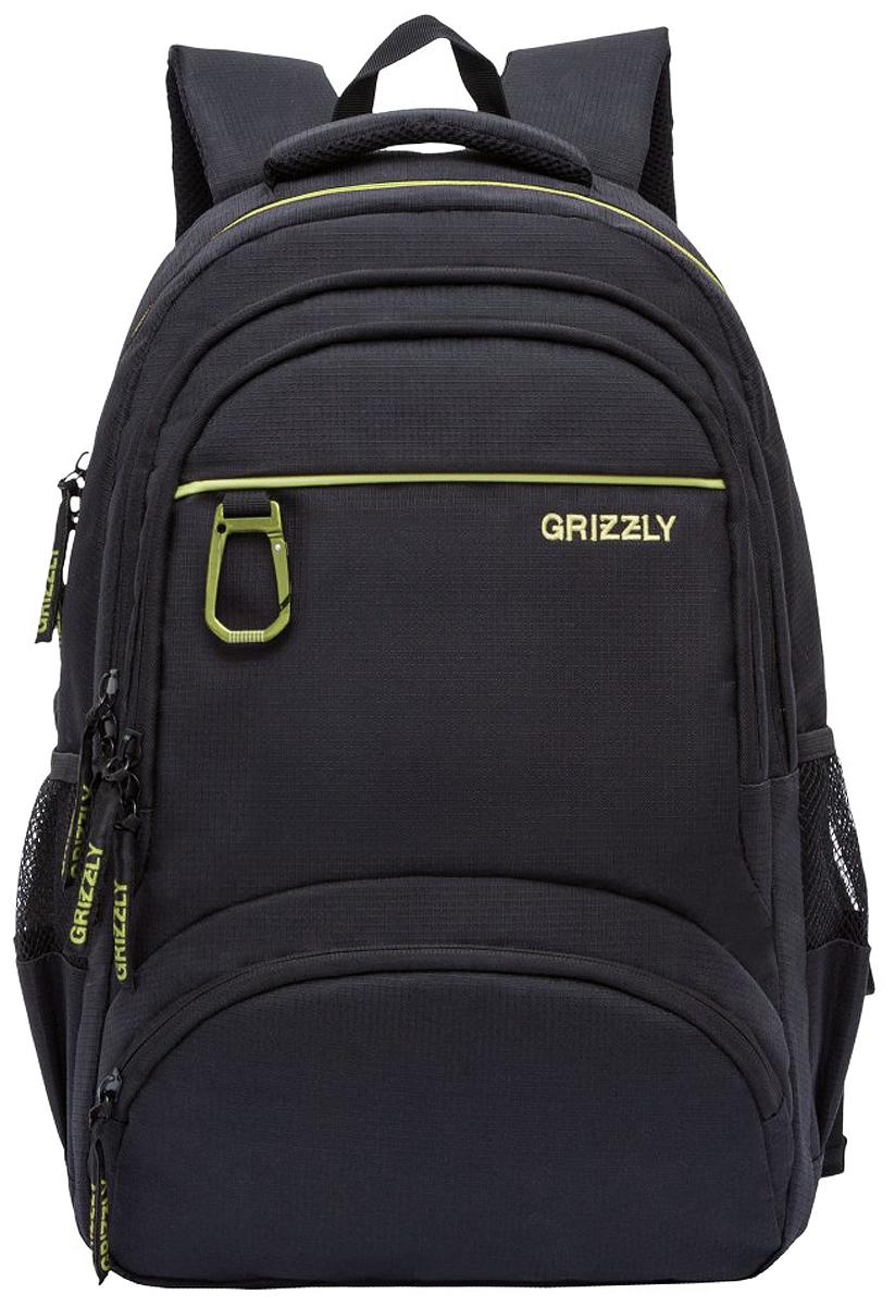 Рюкзак Grizzly, цвет: черный, салатовый, 17 л. RU-806-1/3 grizzly рюкзак черно салатовый