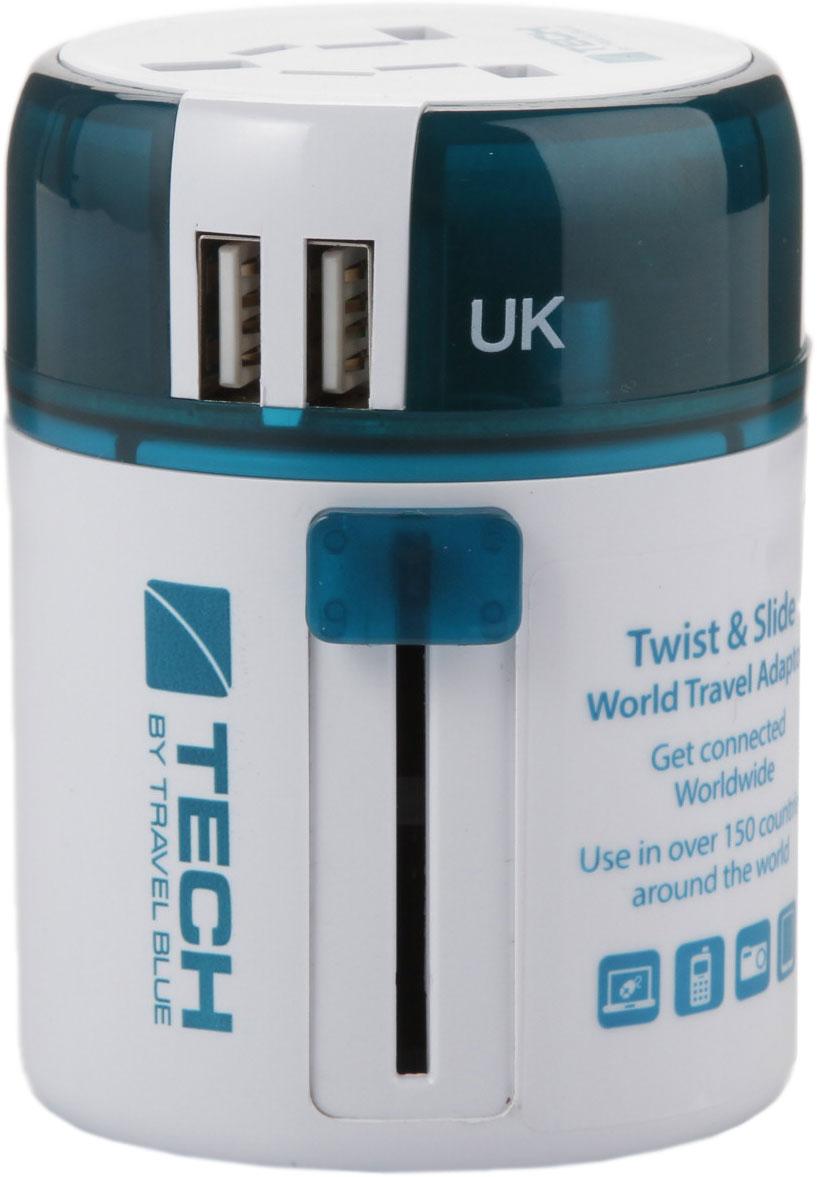 Универсальный адаптер-переходник Travel Blue Sliding Adaptor, с 2xUSB-портами для зарядки, цвет: белый, зеленый переходник 12 в на 220 в