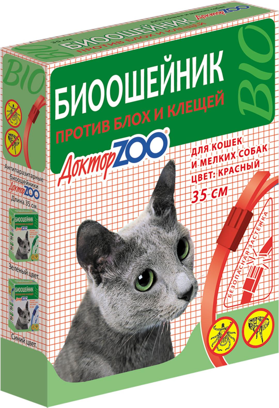 БИОошейник Доктор ZOO для кошек и собак, от блох и клещей, красный, 35 см доктор zoo витамины оптом в нижнем новгороде