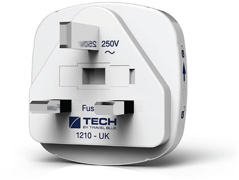 Сетевой адаптер-переходник Travel Blue EU-to-UK, с USB-портом для зарядки, цвет: белый адаптер 220