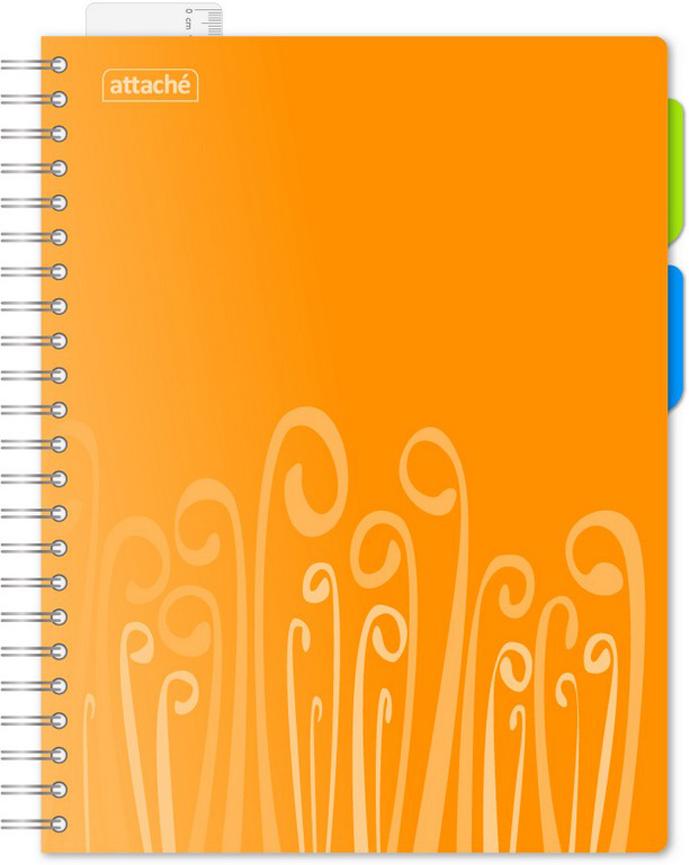 Attache Тетрадь Fantasy 140 листов в клетку А4 цвет оранжевый309361Бизнес-тетрадь Attache Fantasy. Модель оранжевого цвета, втвердой обложке изизносоустойчивого пластика сприятной текстурой, комплектуется съемной линейкой-закладкой идвумя съемными цветными разделителями. Блок бизнес-тетради состоит из140 листов белой офсетной бумаги форматаА4, разлинованных вклетку. Настраницах имеются поля иразметка для дополнительной информации. Бизнес-тетрадь оборудована креплением ввиде серебристой спирали увеличенного диаметра.