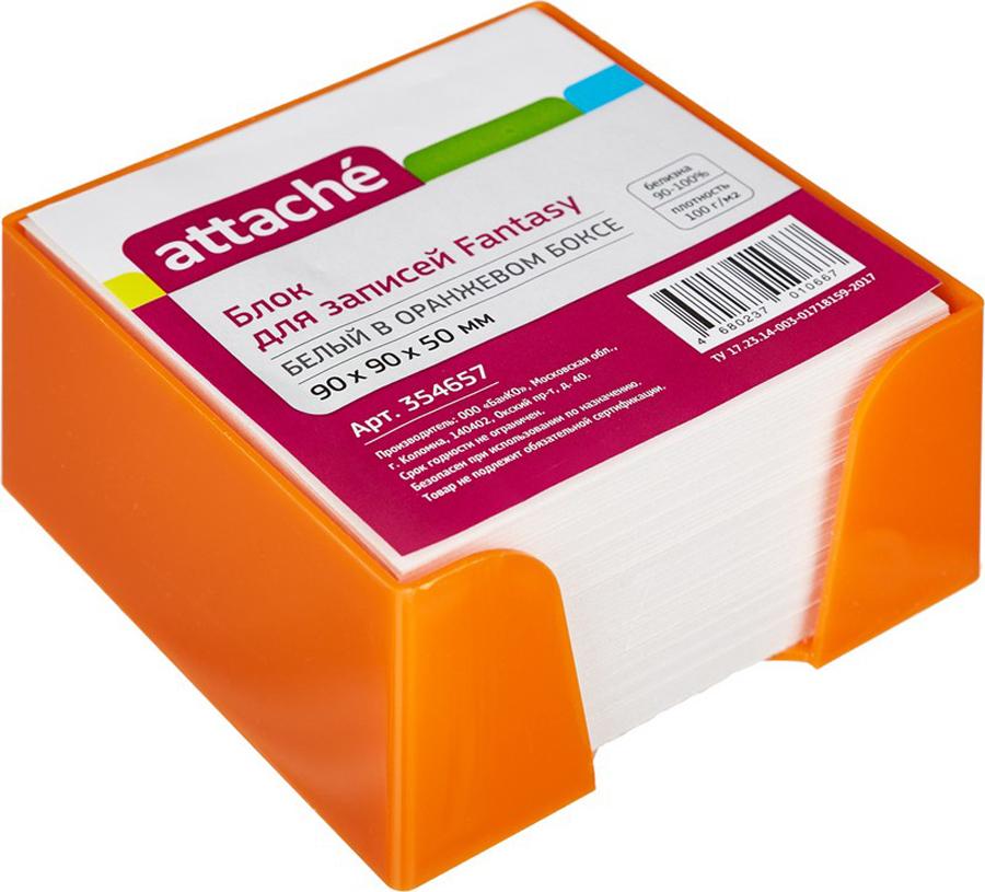 Attache Бумага для заметок Fantasy цвет оранжевый белый 9 см х 9 см х 5 см ручка attache harmony 0 5 mm