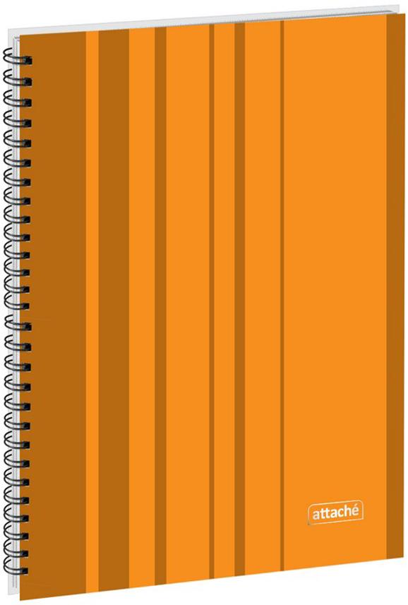 Attache Тетрадь Сoncept 120 листов в клетку формат А4 цвет оранжевый600413Бизнес-тетрадь Attache Concept формата А4. Обложка твердая, из плотного картона, сматовой ламинацией, строгий офисный дизайн, цвет- оранжевый. Тиснение логотипа наобложке выполнено серебряной фольгой. Блок включает 120 листов офсетной бумаги плотностью 65 г/кв.м, тип крепления- спираль. Листы вклетку, белизна 100%.