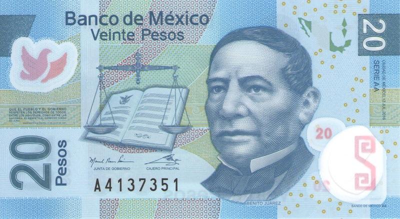 Банкнота номиналом 20 песо. Мексика. 2016 год