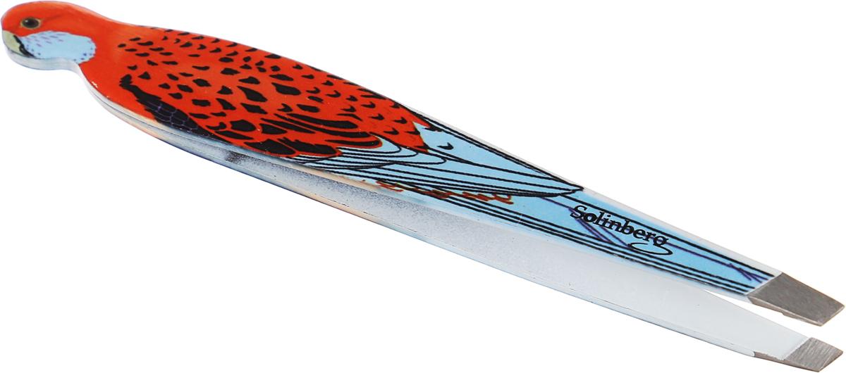 Пинцет для бровей Solinberg 010BDR, наклонное окончание с четкими гранями, цвет: оранжевый, голубой все цены