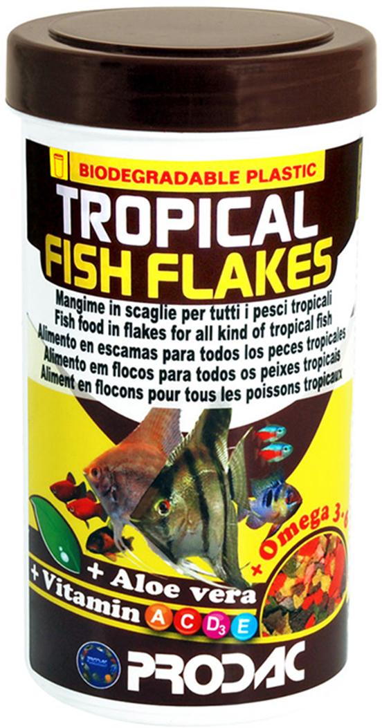 Корм сухой Prodac Tropical Fish Flakes, для аквариумных пресноводных рыб, в виде хлопьев, 200 г корм сухой prodac goldfish premium для аквариумных пресноводных рыб в виде хлопьев 200 г