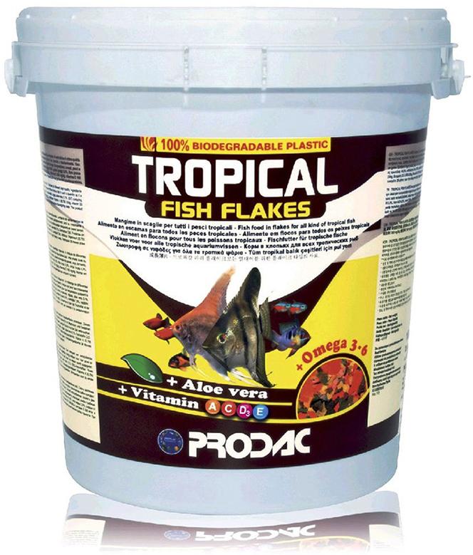 Корм сухой Prodac Tropical Fish Flakes, для аквариумных пресноводных рыб, в виде хлопьев, 1 кг корм сухой prodac goldfish premium для аквариумных пресноводных рыб в виде хлопьев 200 г