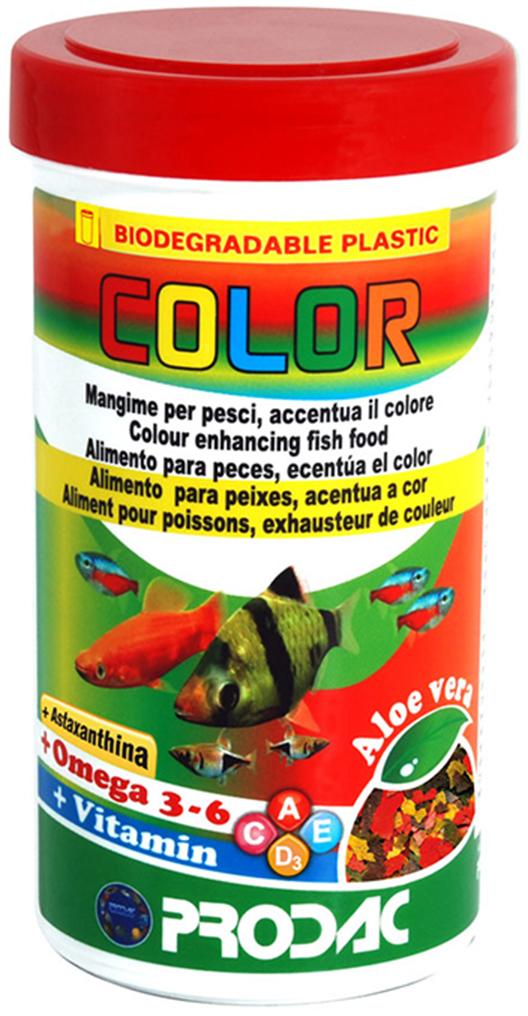 Корм сухой Prodac Color, для аквариумных пресноводных рыб, в виде хлопьев, 20 г корм сухой prodac goldfish premium для аквариумных пресноводных рыб в виде хлопьев 200 г