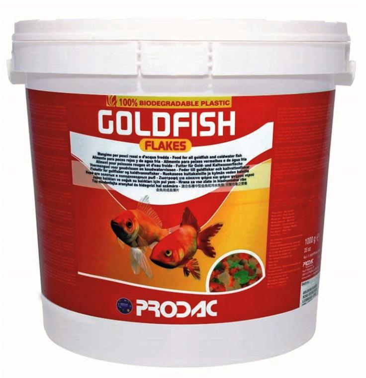 Корм сухой Prodac Goldfish Flakes, для аквариумных пресноводных рыб, в виде хлопьев, 1 кг корм сухой prodac goldfish premium для аквариумных пресноводных рыб в виде хлопьев 200 г