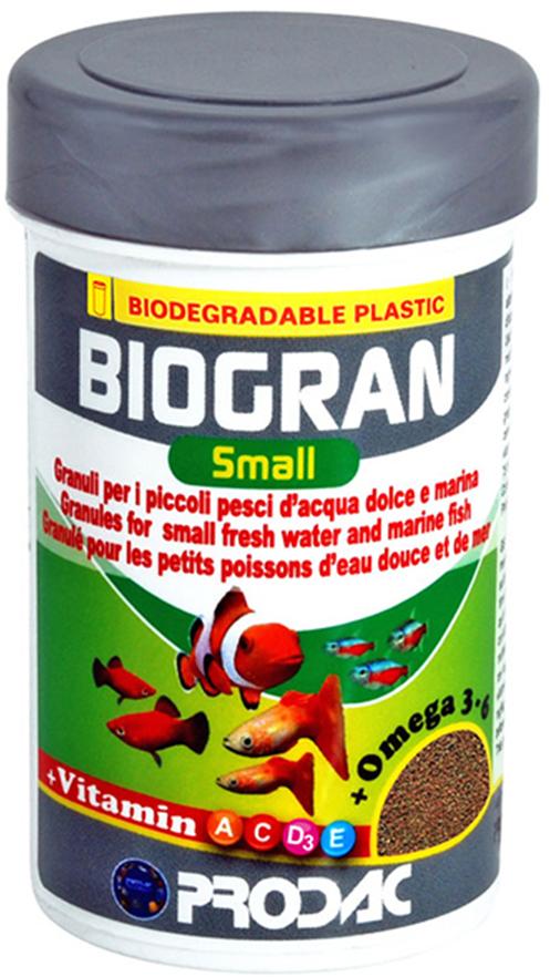 Корм сухой Prodac Biogran Small, универсальный, для рыб малых размеров, в гранулах, 20 г дельфины porpoise малых и средних размеров корм для рыб корм для рыб тропических рыб корма лампа макрель золотая рыбка микрочастицы 88g