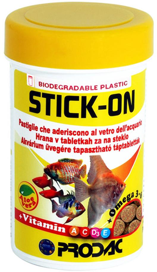 Корм сухой Prodac Stick-On, для аквариумных пресноводных рыб, в таблетках, 60 г витамины в таблетках