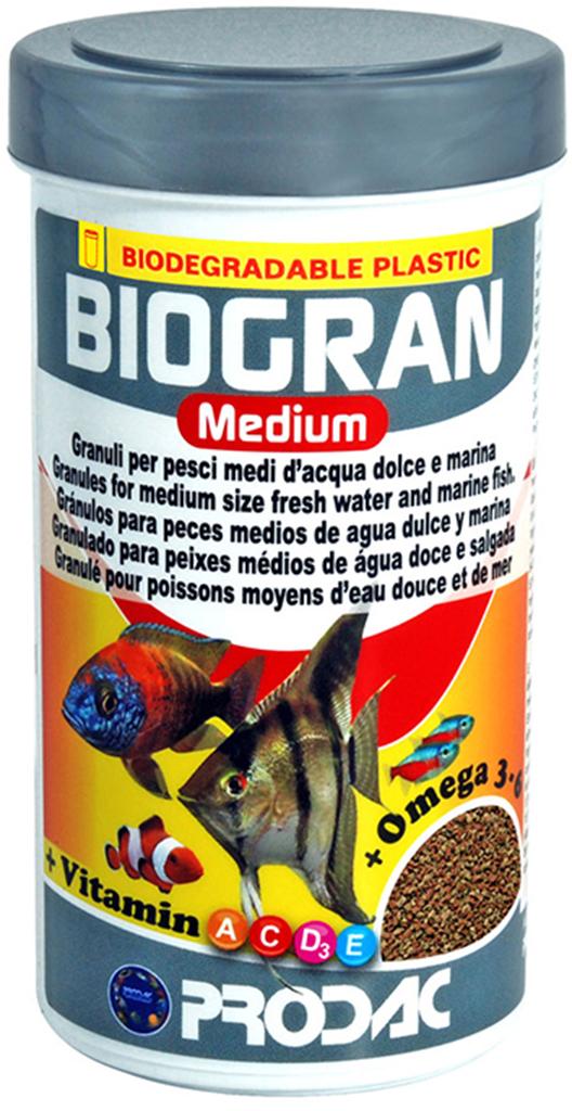 Корм сухой Prodac Biogran Medium, универсальный, для рыб средних размеров, в гранулах, 500 г дельфины porpoise малых и средних размеров корм для рыб корм для рыб тропических рыб корма лампа макрель золотая рыбка микрочастицы 88g