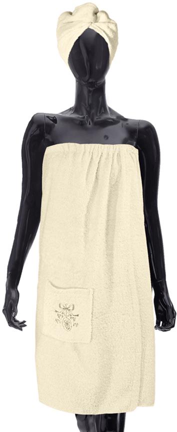 Комплект для бани Soavita: парео + чалма, цвет: кремовый килт для бани soavita цвет серый 60 х 140 см