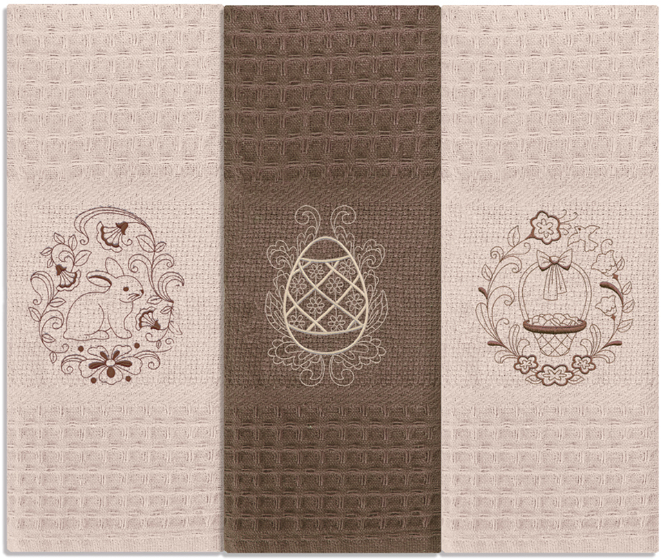Набор кухонных полотенец Soavita Пасха, цвет: бежевый, 40 х 60 см, 3 шт набор кухонных полотенец soavita пасха цвет бежевый 40 х 60 см 3 шт