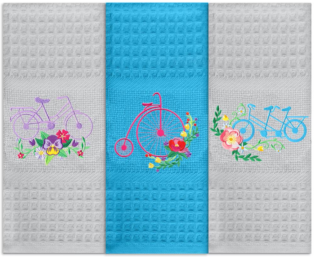 Набор кухонных полотенец Soavita Велосипеды, цвет: бирюзовый, 40 х 60 см, 3 шт набор кухонных полотенец soavita пасха цвет бежевый 40 х 60 см 3 шт