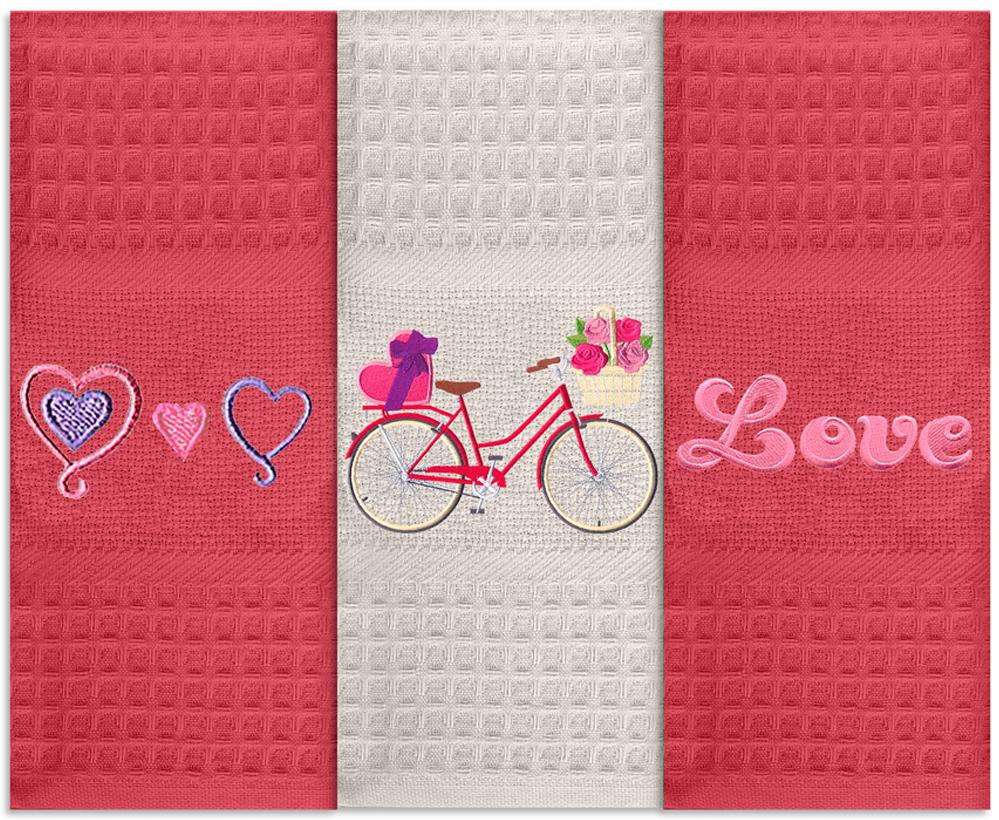 Набор кухонных полотенец Soavita Love, цвет: красный, 40 х 60 см, 3 шт набор кухонных полотенец soavita пасха цвет бежевый 40 х 60 см 3 шт
