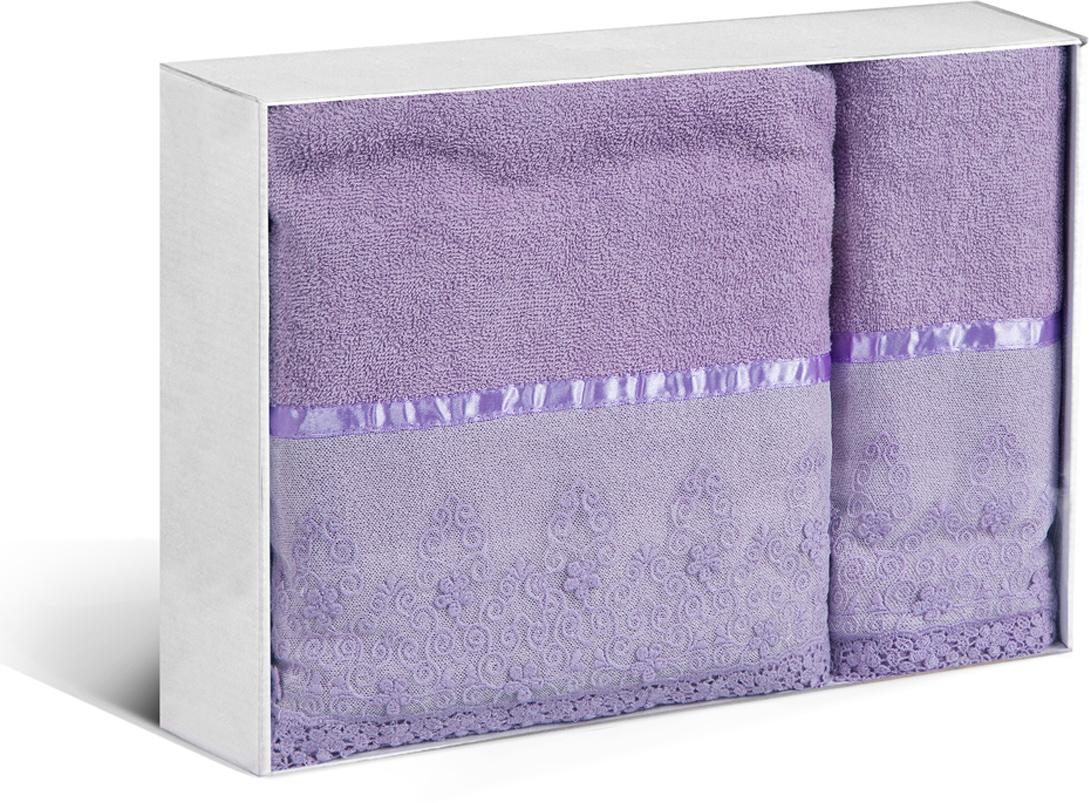 """Набор банных полотенец Soavita """"Нежность"""", цвет: сиреневый, 2 шт"""