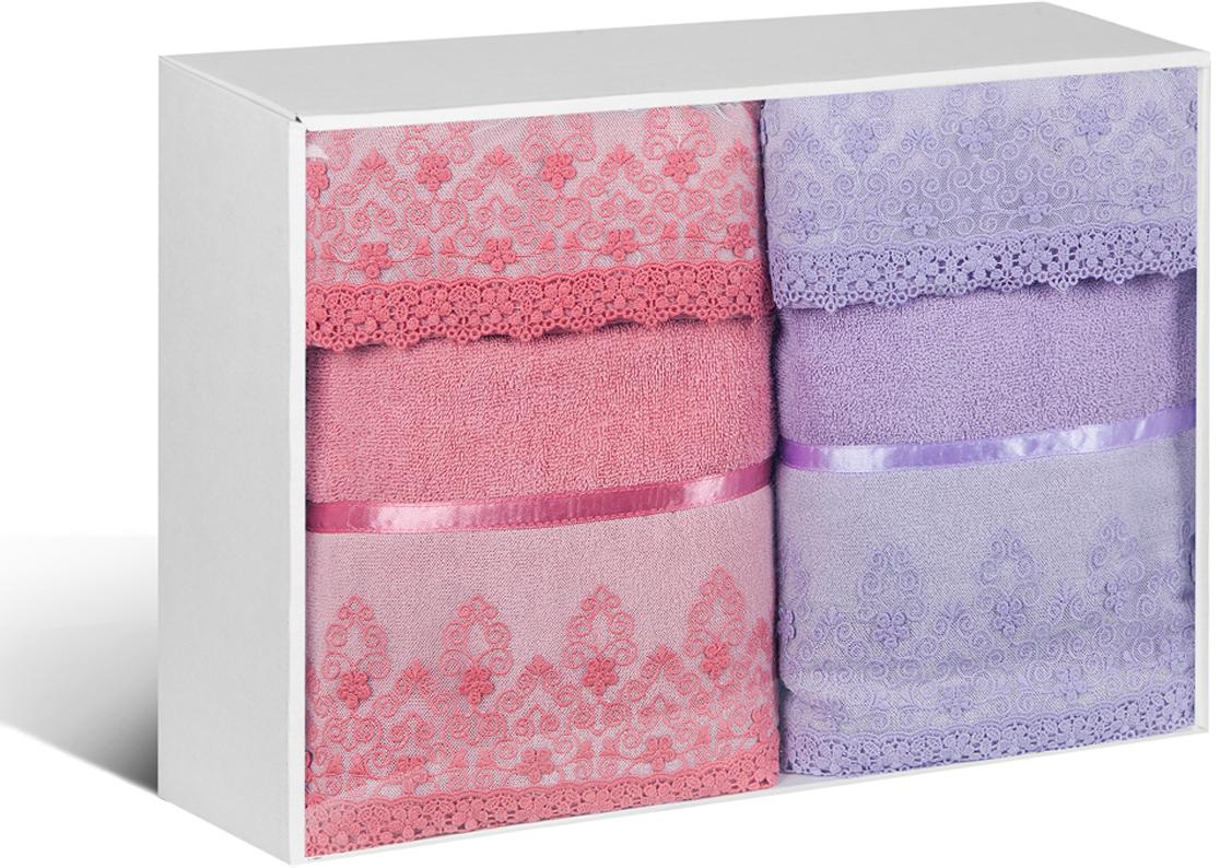 """Набор банных полотенец Soavita """"Нежность"""", цвет: брусничный, сиреневый, 4 шт"""