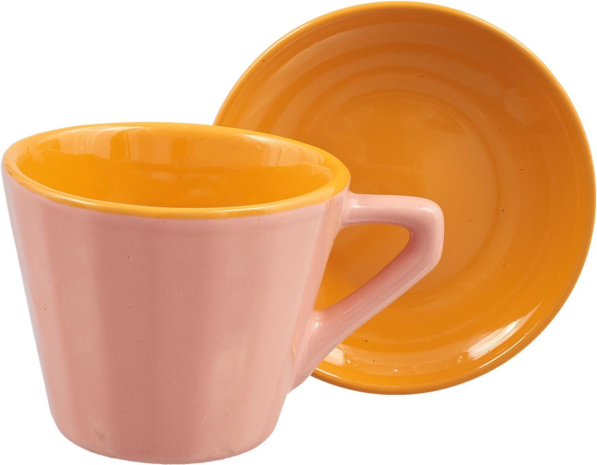 Чайная пара Борисовская керамика Ностальгия, цвет: розовый, желтый, 200 мл чайная пара борисовская керамика ностальгия цвет темно фиолетовый голубой 200 мл