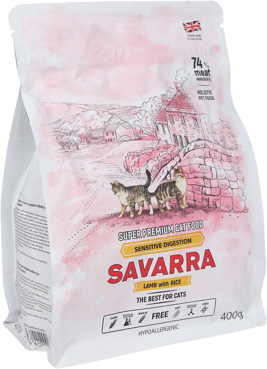 """Корм сухой """"Savarra"""" для взрослых кошек с чувствительным пищеварением, с ягненком и рисом, 400 г"""