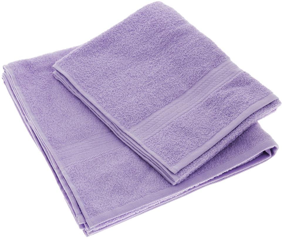 """Набор махровых полотенец """"Aisha Home Textile"""", цвет: сиреневый, 2 шт. УзТ-НПМ-102"""
