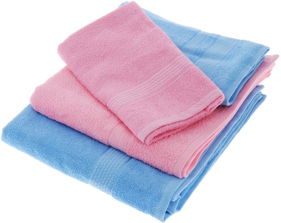 """Набор махровых полотенец """"Aisha Home Textile"""", цвет: голубой, розовый, 4 шт"""