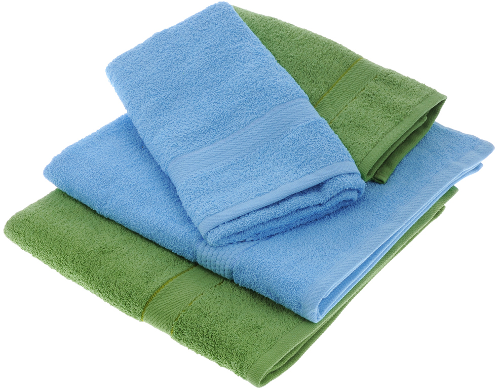 """Набор махровых полотенец """"Aisha Home Textile"""", цвет: голубой, зеленый, 4 шт"""