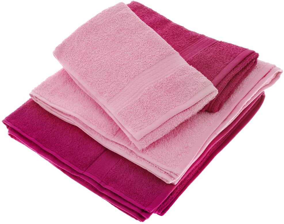 """Набор махровых полотенец """"Aisha Home Textile"""", цвет: малиновый, розовый, 4 шт"""