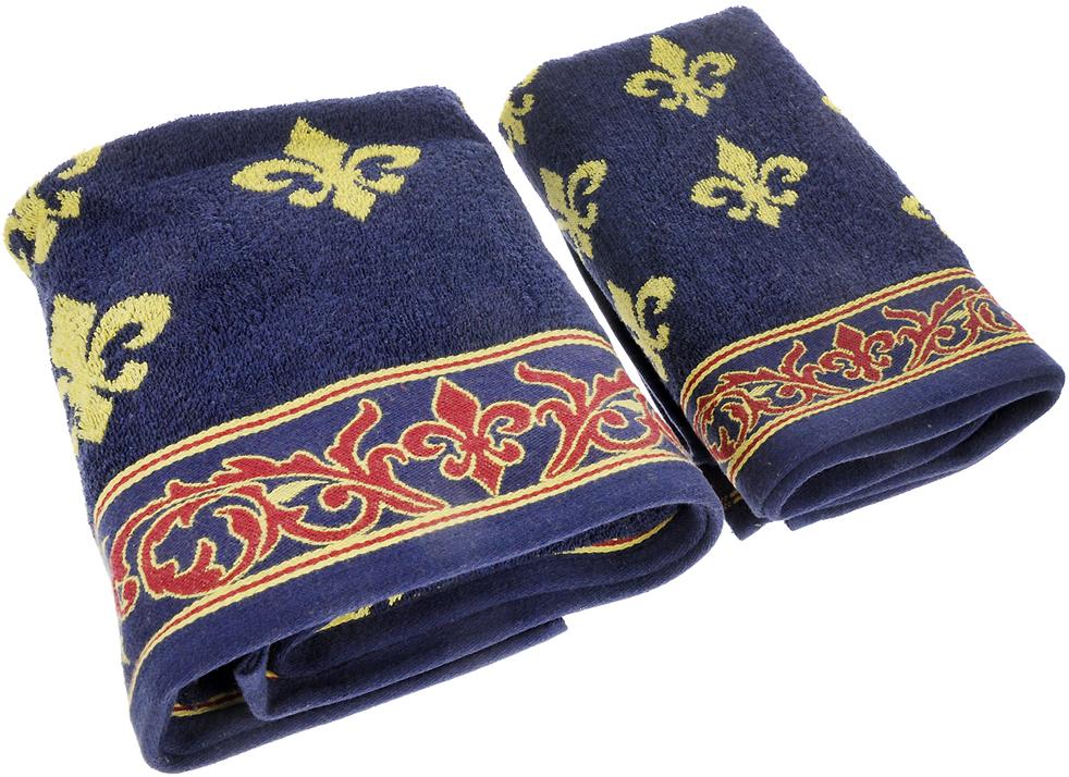 """Набор махровых полотенец Soavita """"Вензель"""", цвет: синий, 2 шт"""