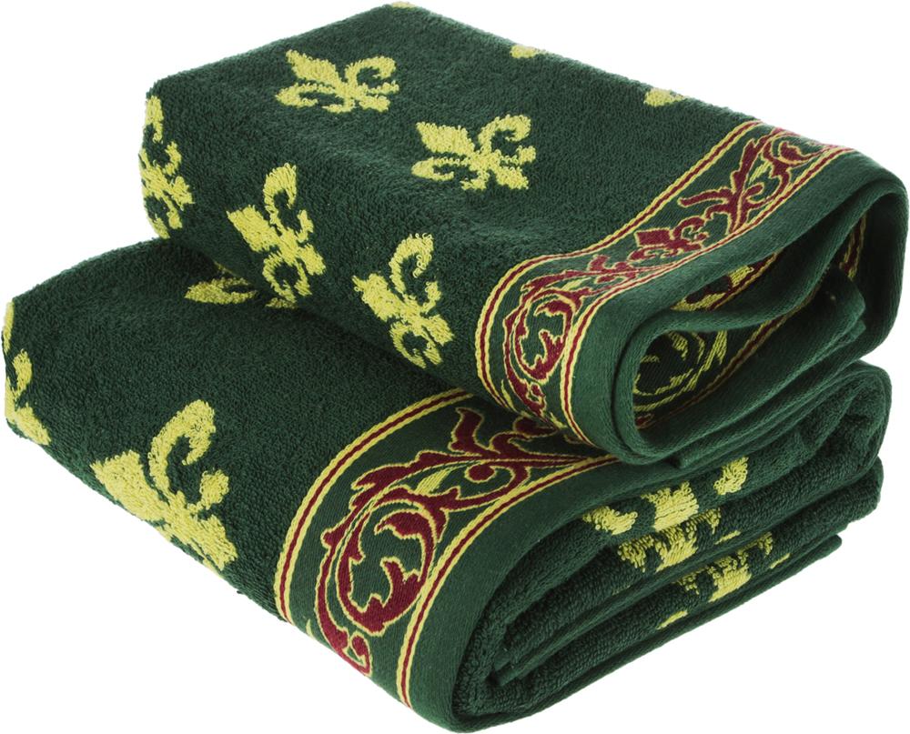 """Набор махровых полотенец Soavita """"Вензель"""", цвет: зеленый, 2 шт"""