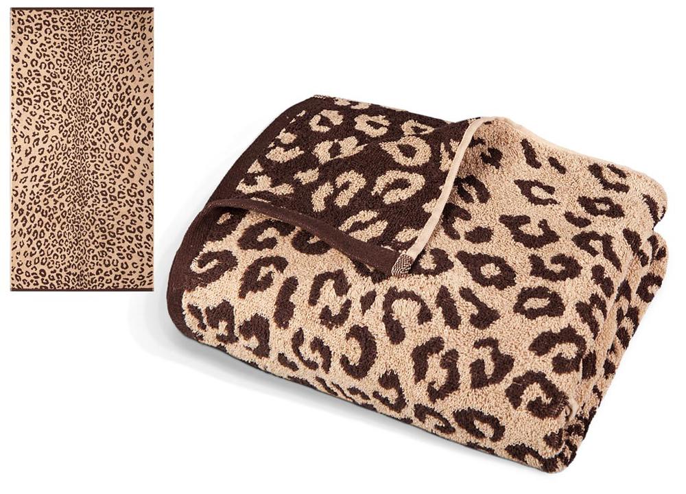 Полотенце Soavita Premium. Леопард, цвет: бежевый, коричневый, 65 х 130 см полотенце soavita добби цвет бежевый 50 х 70 см