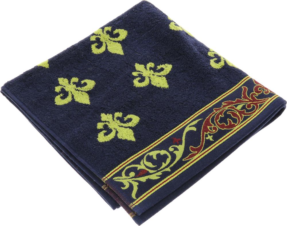 Полотенце Soavita Premium. Вензель, цвет: темно-синий, желтый, 65 х 130 см полотенца soavita полотенце добби 50х70 см