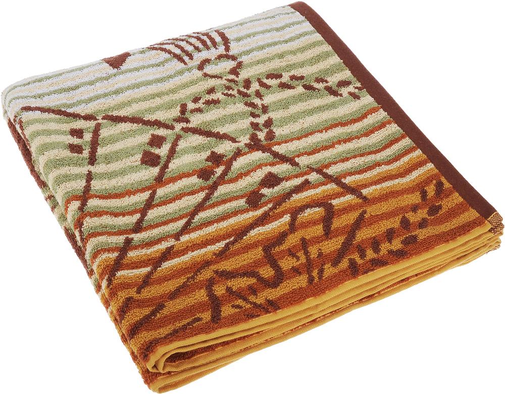 Полотенце Soavita Premium. Веер, цвет: бежевый, коричневый, зеленый, 65 х 130 см over to you